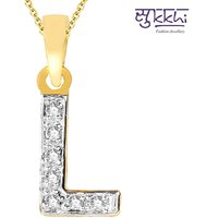 Sukkhi Cz Stone Studded Alphabet 'L' Pendant With Chain