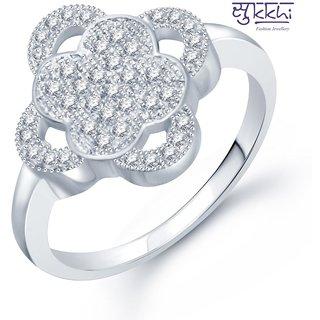 Sukkhi Lavish Micro Pave Setting Rhodium Plated Cz Ring For Women(325R610)