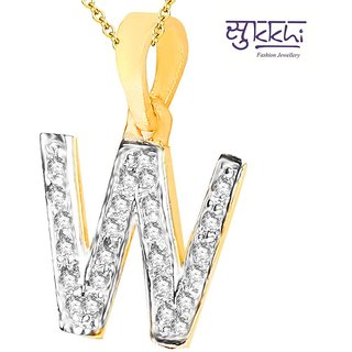 Sukkhi Cz Stone Studded Alphabet 'W' Pendant With Chain