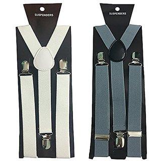 Y- Back Suspenders for Men(White Grey Color)