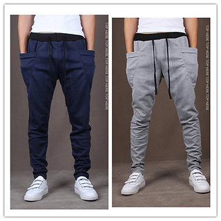 ToYouth Men's Grey & Blue Cotton Lycra Running Track Pants ( Pack Of 2)