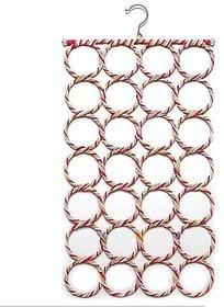 Evershine Multi Purpose 28 rings Slots Hole Foldable Hanger for Ties , Scarfs , Belts , Holder Closet Clothes Organiser Hook Storage Multi-coloured (Random Color)