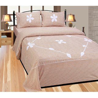 BajajDecor Floral Design Cotton  Double Bedsheet And 2 Pillow Cover