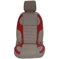 Hi Art Beige & Red Leatherite Seat Cover For Nissan Micra Active