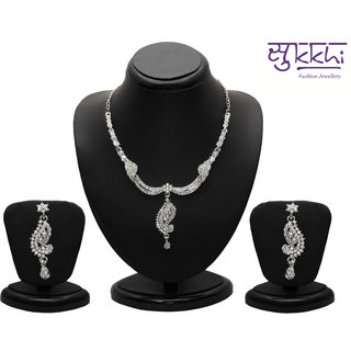 Sukkhi Silver Plated Silver Necklace Set For Women