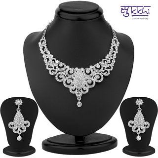 Sukkhi Incredible Rhodium Plated Australian Diamond Necklace Set