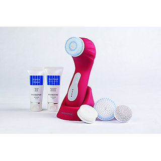 ORA ProSonic Glow Cleansing & Exfoliation Brush System, Includes 3 Speeds, 4 Brush Heads, Cleanser, Microderm Cream (Red
