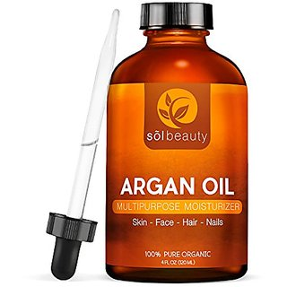 Sol Beauty Argan Oil for Hair, Face & Skin - 100% Pure Grade Oil - Anti-Aging, Anti-Wrinkle - 4 oz