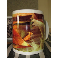 Ceramic Coffee Mug - Yellow, Brown And Orange