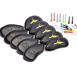 Golf Club Headcovers 30 Golf Tees This is a Set of 10 PU Leather Golf Iron Club Covers Featuring Stylish 3D Embroidery S