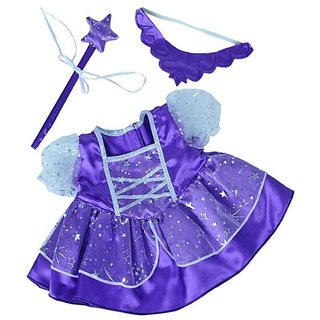 Purple Fairy Princess Dress w-Wand Teddy Bear Clothes Outfit Fits Most 14
