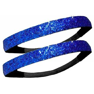 2 PACK: Activewear Apparel Glitter Headbands Multiple Colors Available (2 - Royal Blue)