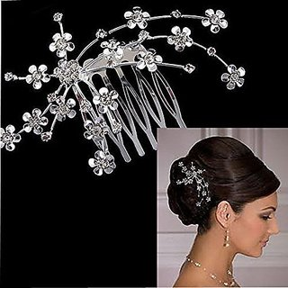 Elife 1 Piece Bridal Wedding Silver-tone Flower Hair Comb Accessories
