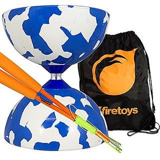 Jester Medium Diabolo Blue-White with Orange Superglass Diablo Sticks, String & Firetoys Bag
