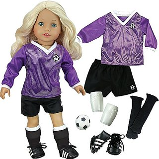 Sophias Doll Clothes for 18 Inch Doll Soccer Outfit, Ball, Black Socks & Cleats, Complete 18 Inch Doll Sports set, Fits