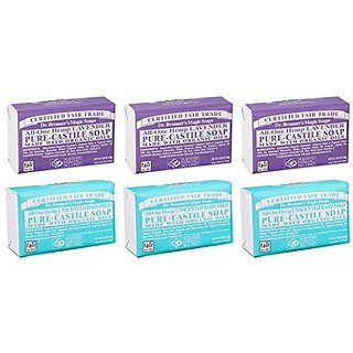 Dr. Bronners Magic Castile Bar Soaps, Lavender & Unscented Baby-Mild (6x5 Oz.)