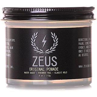 Zeus Original Pomade for Men - 4.0 Oz Jar - Paraben Free - Water Based Classic Hold Pomade