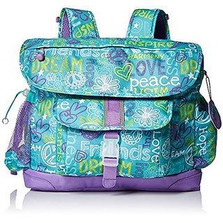 Bixbee Hope Peace Love Kids Backpack, Teal, Large