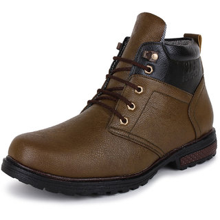 BUWCH Men's Brown Lace-up Boots