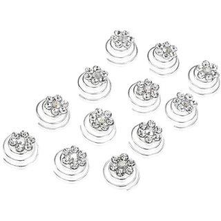 Rhinestone Flower Bridal Wedding Hair Twisters (Pack of 12)