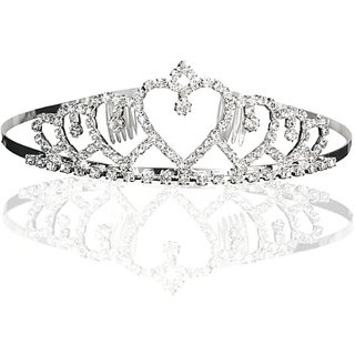 Bridal Wedding Princess Heart to Heart Tiara Crown With Crystal Rhinestone Drops
