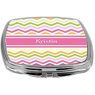 Rikki Knight Pink Chevron Name Design Compact Mirror, Kristin, 3 Ounce
