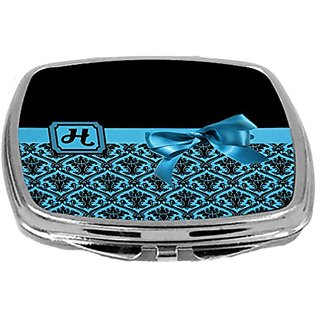 Rikki Knight Letter-H Monogram Damask Bow Design Compact Mirror, Sky Blue, 2 Ounce