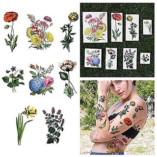 Tattify Bright Colorful Flower Temporary Tattoos - The Secret Garden (Set of 16)