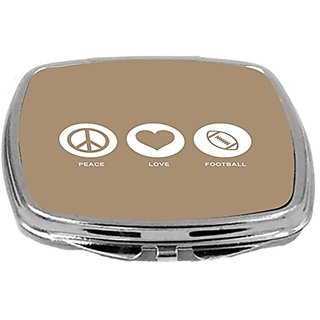 Rikki Knight Peace Love Football Design Compact Mirror, Brown, 2 Ounce