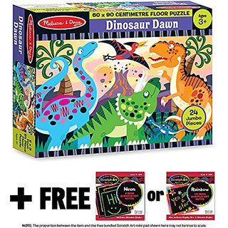 Dinosaur Dawn: 24-Piece Floor Puzzle + FREE Melissa & Doug Scratch Art Mini-Pad Bundle [44257]