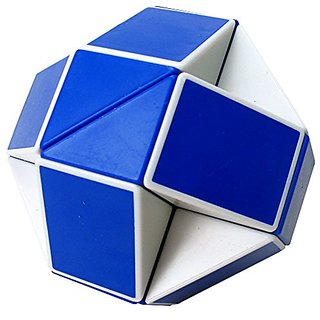YKL World Snake Spring Magic Ruler Twist Puzzle Cube, Blue-white