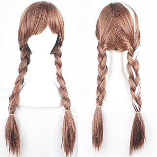 Brown Weave Ponytail Wig Cosplay/Costume/Anime/Party/Bangs Full Sexy Wig Elsa-2