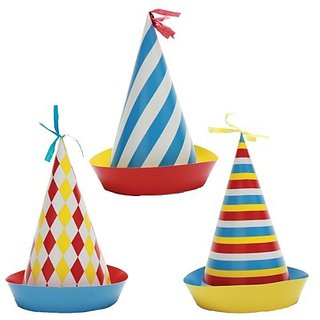 Party Partners Design Retro Big Top Circus Themed Hats, Blue Red, 6 Count