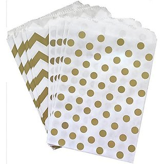 Outside the Box Papers Polka Dot and Chevron Treat Sacks 5.5 x 7.5 48 Pack Gold, White