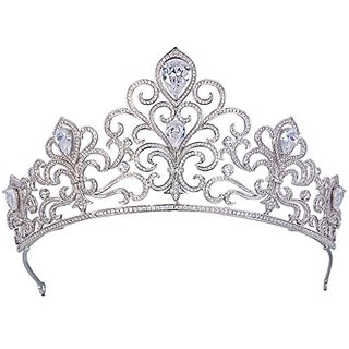 EVER FAITH Silver-Tone Full Cubic Zirconia Princess Style Wave Vine Wedding Hair Crown Tiara Clear