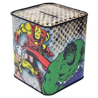 WL SS-WL-22946 Marvel Comics The Fearless Avengers Tin Bank, 3.75