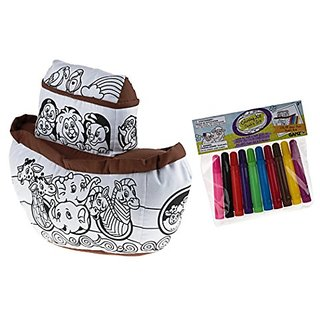 Brown Noahs Ark 9 inch Fabric Inspirational Kids Stuffed Toy and Marker Set