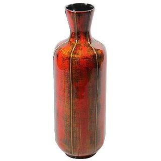 Essential Dcor Entrada Collection Lacquer Bamboo Vase with Antique Red Gold Accent, 21.25 by 7.08-Inch
