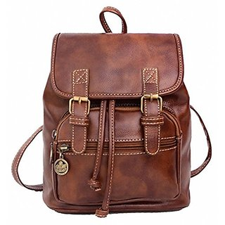 Kenox Small Pu Crazy Horse Leather Girls School Backpacks Ladies Shoulder Bags (Brown-2)