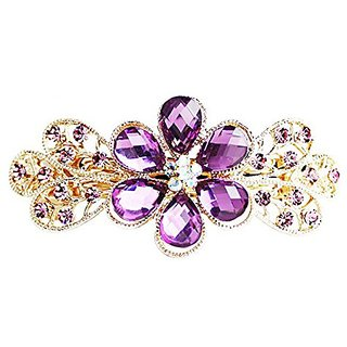Beyleg Purple Womens Fashion Flower Hair Clip Head Wear BE-65
