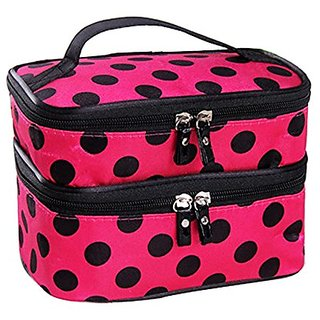 Angela Star Cosmetic Bag Double Layers Dot Decor Big Capacity Travel Bag Makeup Holder Toiletry Bag with Mirror (Rose)