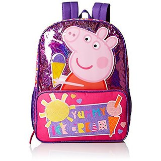 Peppa Pig Girls Ice Cream Front Zipper Pocket 16 inch Backpack, Pink