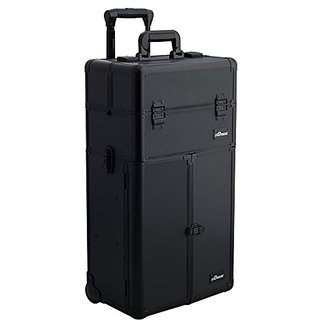 SUNRISE Makeup Rolling Case 2 in 1 Professional Artist I3265, French Doors, 3 Sliding Tray and 4 Drawers, Locking with M