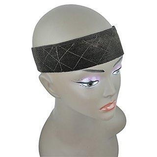 BHD Headband Flexible Velvet Wig Grip Scarf Head Hair Band Adjustable Fastern (Brown)