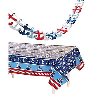 NAUTICAL Tablecloth and tissue anchor GARLAND set - Nautical party decorations