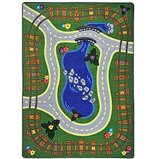 Joy Carpets Kid Essentials Early Childhood Alphabet Express Rug, Multicolored, 78