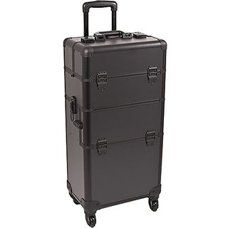 SUNRISE Makeup Case on Wheels 2 in 1 Professional Artist Organizer I3161, 4 Slide and 1 Removable Tray, 4 Wheel Spinner,
