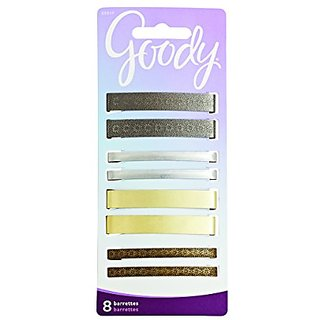 Goody Hair Barrettes, Metallic, 8-count