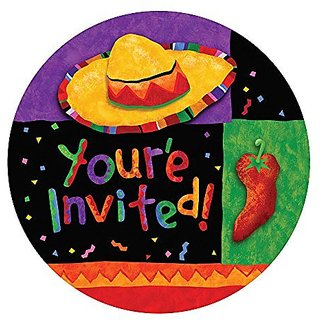 Creative Converting 8 Count Invitation Cards, Festive Fiesta