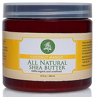 Coconut Mango Organic All Natural Shea Butter - Moisturizer, Anti-Inflammatory and Anti-Aging Properties - 16 oz.